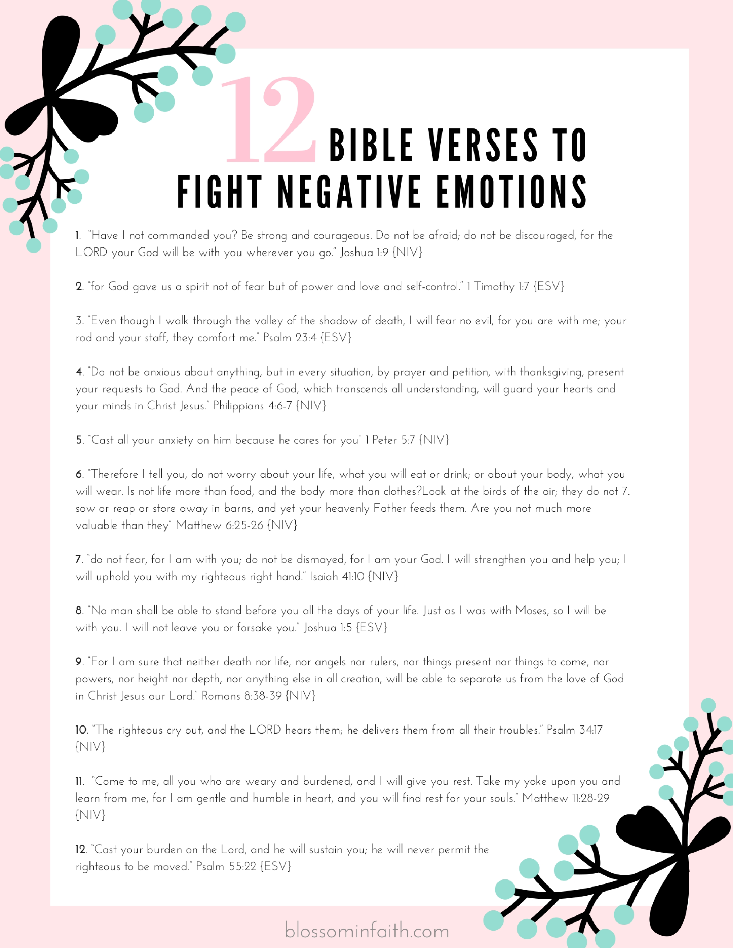 Blossom In Faith ~ 12 Bible Verses To Help Reign in Our